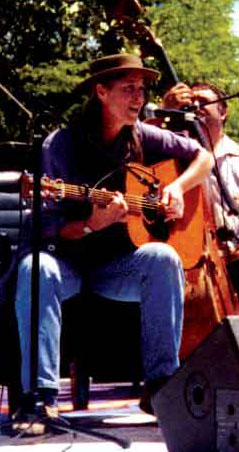 Carol Denney playing the People's Park Anniversary in 1993.